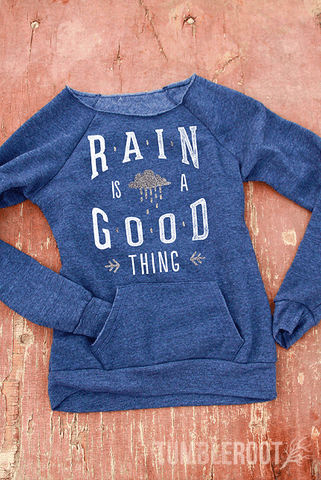 Rain is a Good Thing | Silver Foil Off-The-Shoulder Sweatshirt