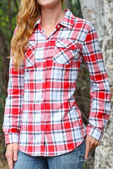 Cute country girl flannel - red plaid long sleeve shirt with roll-tab sleeves
