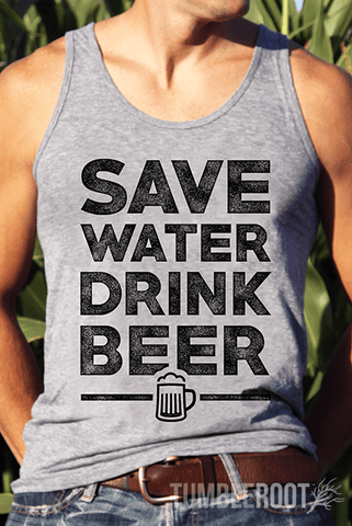 "The classic beer-drinker's motto, ""Save water drink beer,"" brought to life on our comfortable tri-blend tank top!"
