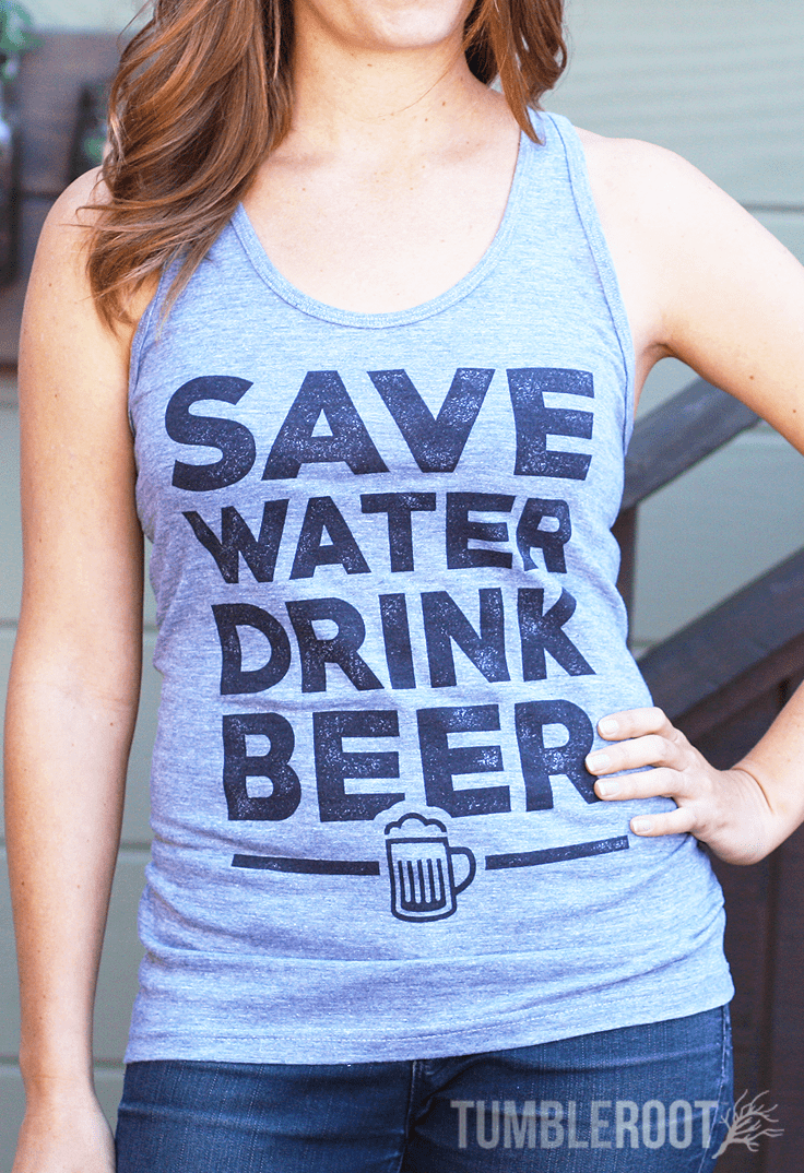 Save Water Drink Beer - country girl tank! Perfect for a concert or beer festival! Quincy is 5'4 and wearing a size Extra Small.
