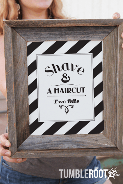 """Shave and A Haircut - Two Bits"" Typographic art print. 8x10 and 16x20"". Black ink on Luxe Cream."