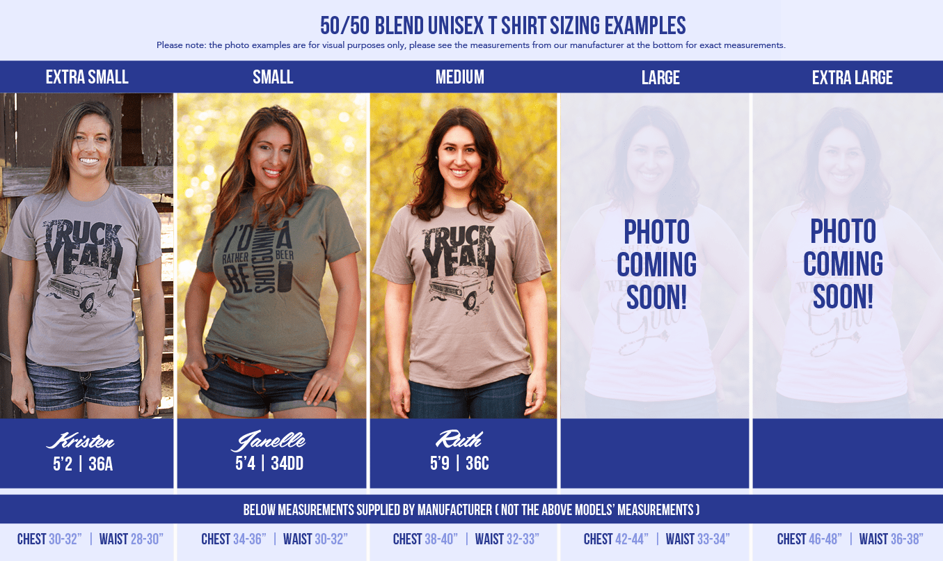 All available sizes of our 50-50 blend t shirts modeled by different ladies. We know it can be hard to choose a size, so we hope this helps!