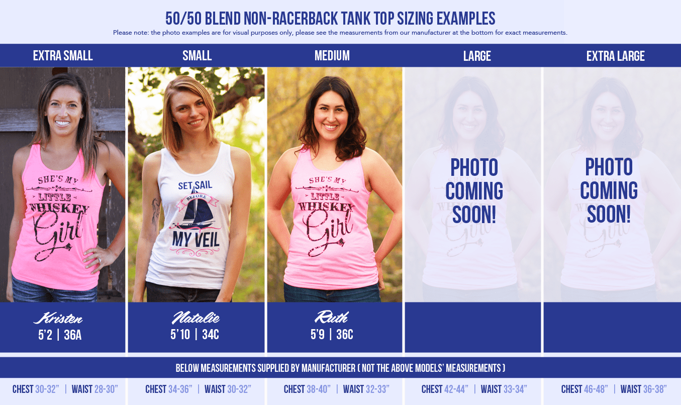 All available sizes of our 50/50 blend tank tops modeled by different ladies. We know it can be hard to choose a size, so we hope this helps!