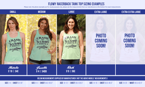 All available sizes of our flowy racerback tank tops modeled by different ladies. We know it can be hard to choose a size, so we hope this helps!