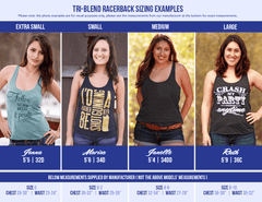 All available sizes of our Tri-Blend racer-back tank tops modeled by different ladies. We know it can be hard to choose a size, so we hope this helps!