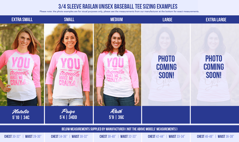All available sizes of our 3/4 sleeve raglan tees modeled by different ladies. We know it can be hard to choose a size, so we hope this helps!