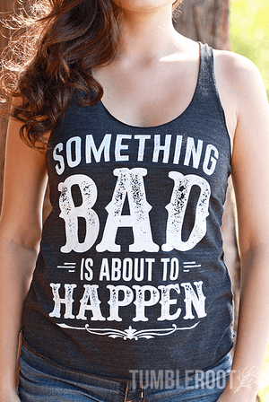 """Something Bad"" country cute racerback tank tops! Marisa is 5'6 and wearing a size Small."