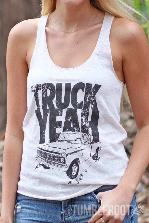 "Adorable ""Truck Yeah"" racerback country girl tank top by TumbleRoot! Perfect for country festivals or tailgating!"