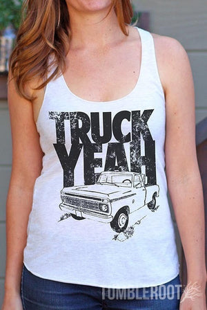 "Adorable ""Truck Yeah"" racerback country girl tank top by TumbleRoot! Perfect for country festivals or tailgating! Quincy is 5'4 and wearing a size Small."