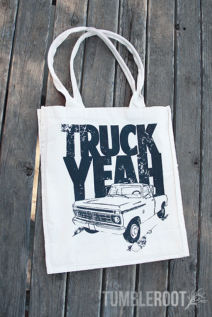 "Show off your country personality with this  ""Truck Yeah"" canvas tote bag!"