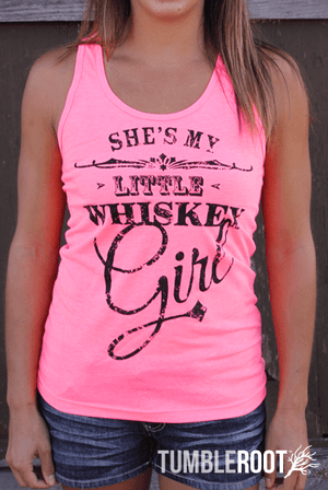 Adorable She's my Little Whiskey girl Country music tank top in neon pink - perfect for a country concert! Kristen is 5'2 and wearing a size Extra Small