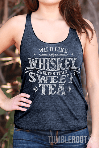 """Wild like Whiskey, Sweeter than Sweet Tea"" country cute racerback tank tops! Perfect for country music festivals! Marisa is 5'6 and wearing a size small."