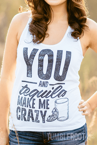 "Adorable ""You and Tequila Drive Me Crazy"" racerback country girl tank top by TumbleRoot! Perfect for country festivals or margarita night! Marisa is 5"