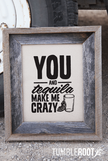 """You and Tequila Make Me Crazy"" art print by TumbleRoot! Available in 8x10 and 16x20"
