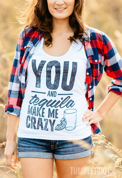"Adorable ""You and Tequila Drive Me Crazy"" racerback country girl tank top by TumbleRoot! Perfect for country festivals and pairs well with a flannel! Marisa is 5'6 and wearing a size small."
