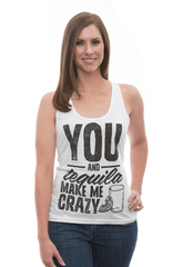 "Adorable ""You and Tequila Drive Me Crazy"" racerback country girl tank top by TumbleRoot! Perfect for country festivals or margarita night! Ashley is 5'6 and wearing a Extra small."