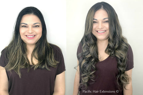 before and after remy hair extensions balayage