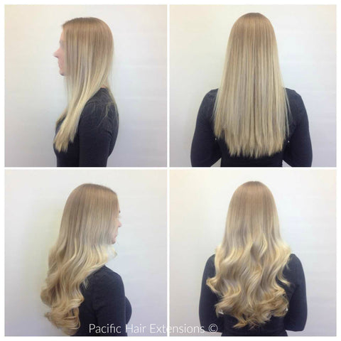 clip-in blonde hair extensions wedding style