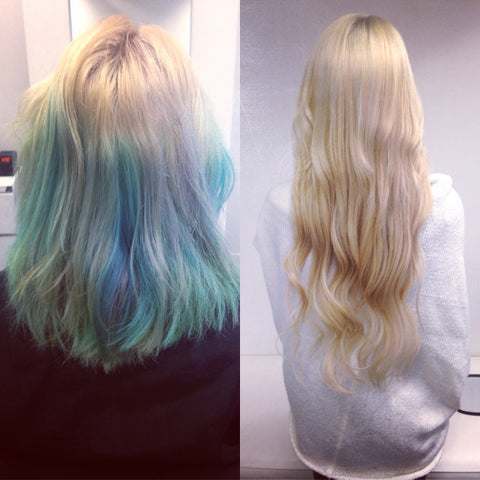 hair extensions with a color correction vancouver
