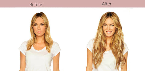 Before After Semi-Permanent Hair Extensions Luxury Package