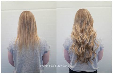 Blonde balayage hair extensions Pacific Vancouver