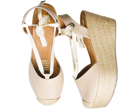 Nude leather espadrille