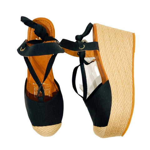 Black Fabric Espadrilles