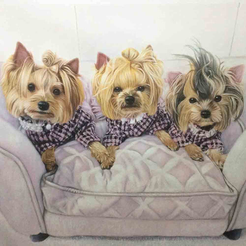 3 Pet-Custom Hand Painted Pet Portrait Oil Painting Arts & Entertainment > Hobbies & Creative Arts > Arts & Crafts > Art & Crafting Materials > Textiles > Crafting Canvas > Painting Canvas ArtToyourlife