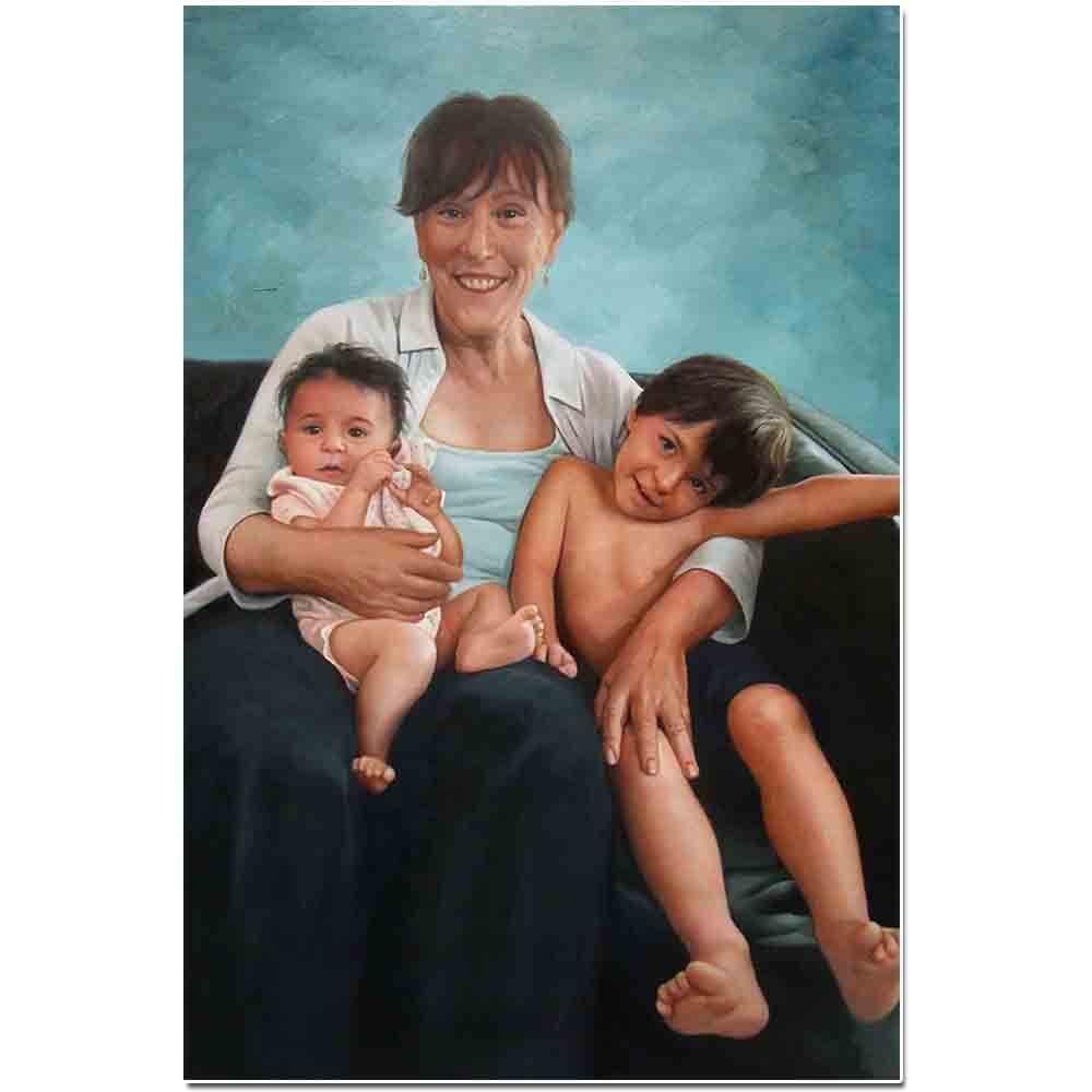 Family portrait 3 people portrait children portrait painting