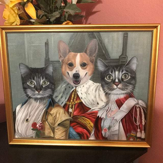 Custom Hand Painted Pet Portrait Oil Painting--Renaissance Portrait Home & Garden > Decor > Artwork > Posters, Prints, & Visual Artwork ArtToyourlife