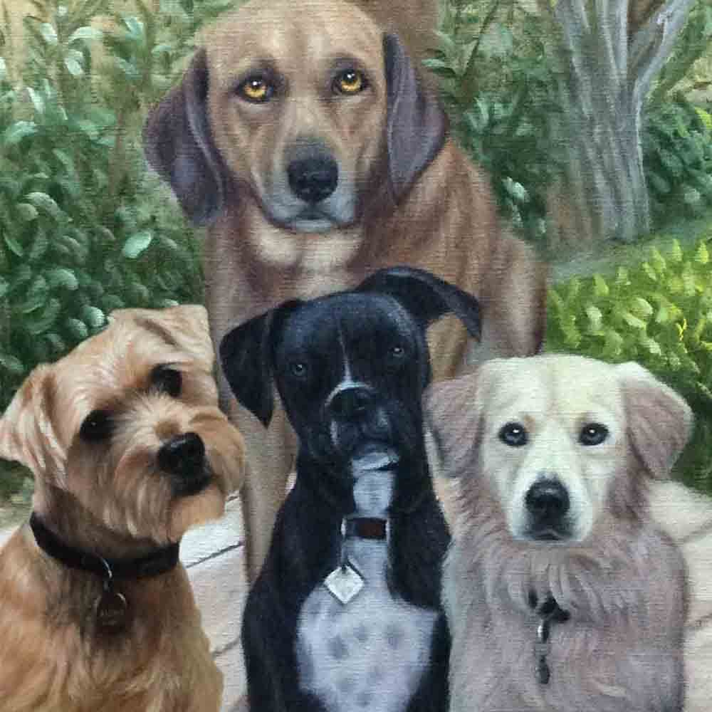 4-5 Pets-Custom Hand Painted Pet Portrait Oil Painting Arts & Entertainment > Hobbies & Creative Arts > Arts & Crafts > Art & Crafting Materials > Textiles > Crafting Canvas > Painting Canvas ArtToyourlife