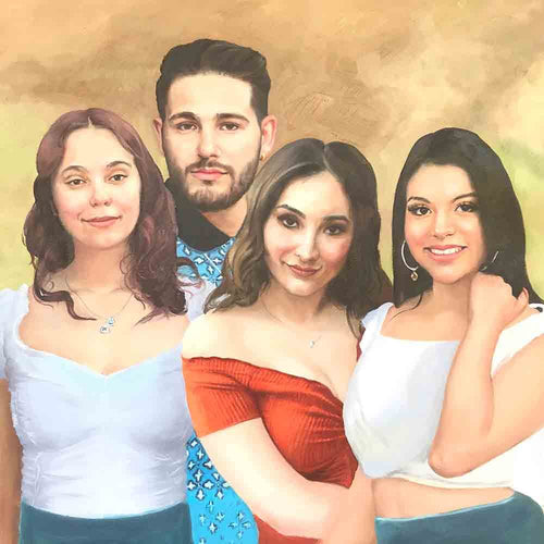 Custom Modern Family Portrait Painting-4 people Arts & Entertainment > Hobbies & Creative Arts > Arts & Crafts > Art & Crafting Materials > Textiles > Crafting Canvas > Painting Canvas ArtToyourlife
