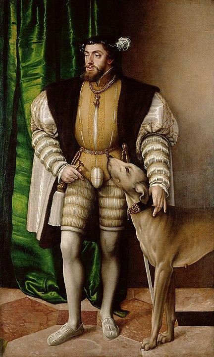 Charles V Standing with His Dog (c. 1533). Artist: Tiziano Vecelli (Titian) Home & Garden > Decor > Artwork > Posters, Prints, & Visual Artwork ArtToyourlife