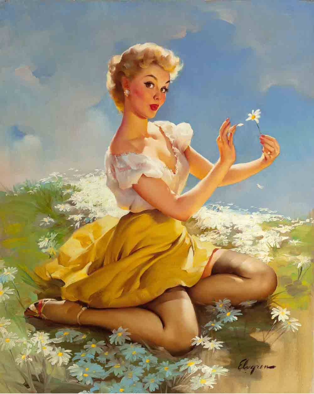 Daisies Are Telling. Artist: Gil Elvgren Home & Garden > Decor > Artwork > Posters, Prints, & Visual Artwork ArtToyourlife
