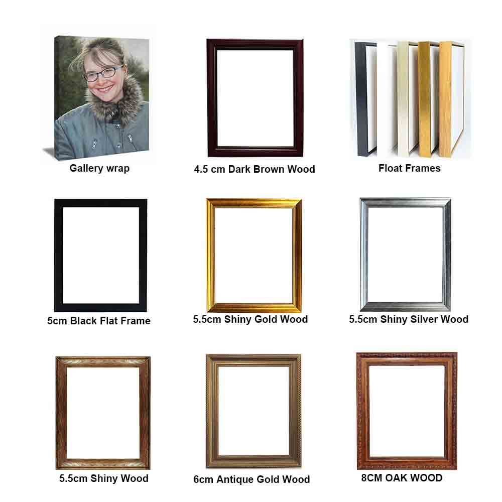 framing oil painting, gallery wrap  gold frames silver frames wood frames