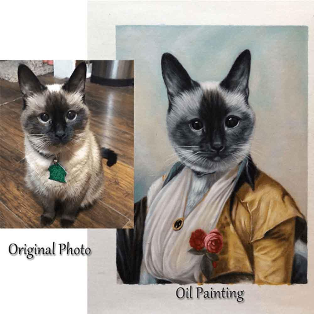 Custom Hand Painted Female Pet Portrait Oil Painting Home & Garden > Decor > Artwork > Posters, Prints, & Visual Artwork ArtToyourlife
