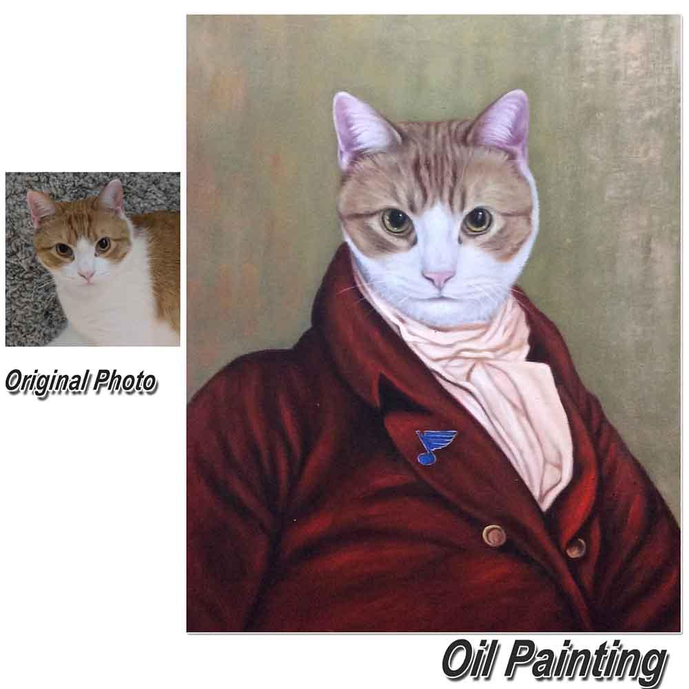 1 Cat-Custom Hand Painted Female Pet Portrait Oil Painting Home & Garden > Decor > Artwork > Posters, Prints, & Visual Artwork ArtToyourlife