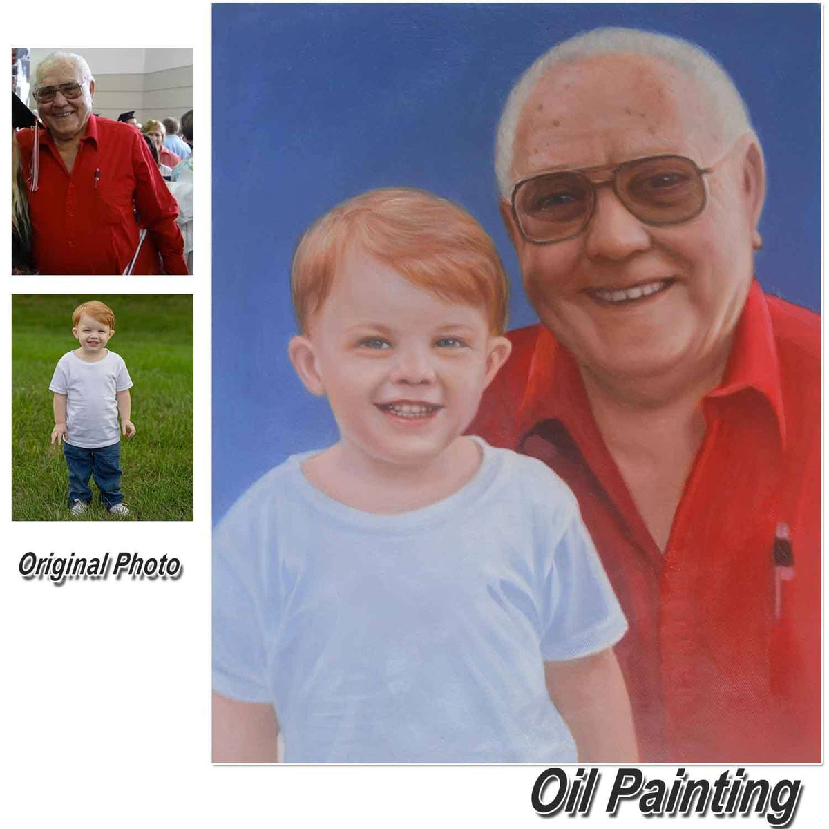 Custom Hand Painted Parents & Children Portrait Oil Painting Home & Garden > Decor > Artwork > Posters, Prints, & Visual Artwork ArtToyourlife