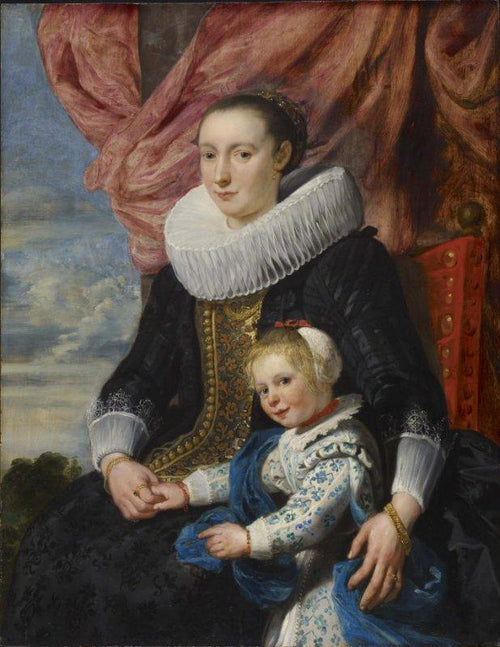 Portrait of a lady with her daughter,Artist:Cornelis de Vos Home & Garden > Decor > Artwork > Posters, Prints, & Visual Artwork ArtToyourlife