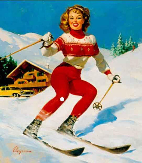 Skiing Down Artist: Gil Elvgren Home & Garden > Decor > Artwork > Posters, Prints, & Visual Artwork ArtToyourlife