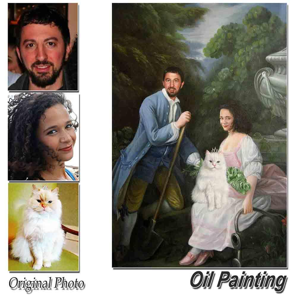 Custom Hand Painted People and Pets portrait Oil Painting Home & Garden > Decor > Artwork > Posters, Prints, & Visual Artwork ArtToyourlife