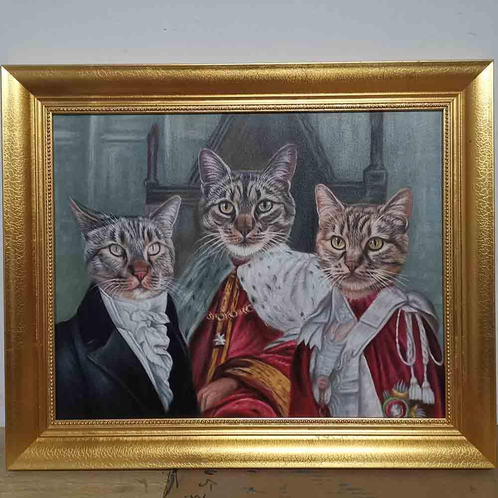 Custom Hand Painted Pet Portrait Oil Painting 2 Pets--Funny portraits Home & Garden > Decor > Artwork > Posters, Prints, & Visual Artwork ArtToyourlife