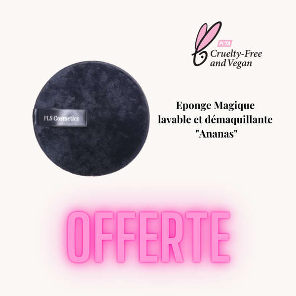 mascara vegan et eponge demaquillante pls cosmetics