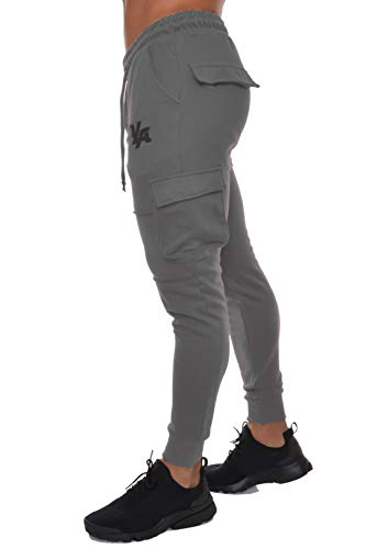 YoungLA Men's Gym Joggers Cargo Style Pants W/Multiple Pockets Tapered Fit 203 Charcoal Large - His Perfect Gifts
