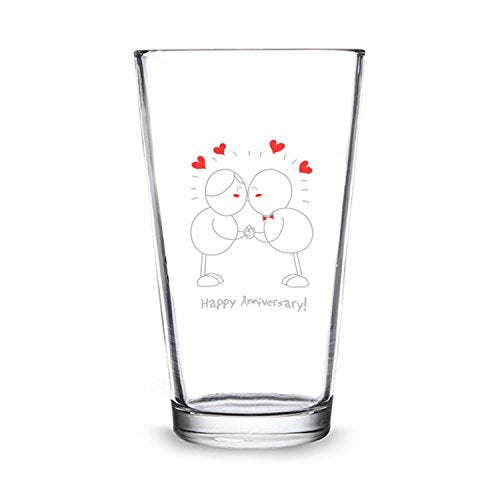 Happy Anniversary! Beer Pint and Wine Glass- Romantic Glassware Gift Set - Made in USA – Cool Present Idea for Wedding Anniversary, Married Couples, Him or Her, Mr. or Mrs. - His Perfect Gifts