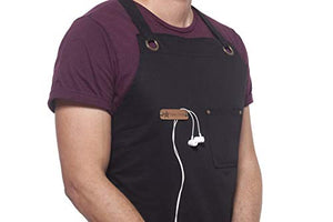 MENT Trends Professional Cooking Apron Chef Designed for Kitchen BBQ Grill / 10 OZ Black Cotton for Women and Men Bib Adjustable/Towel Loop + Quick Release Buckle + Tool Pockets + Headphones Loop - His Perfect Gifts