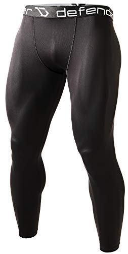 Defender Men's Compression Baselayer Pants Legging Shorts Tights Soccer, 710-blackblack, XX-Large - His Perfect Gifts