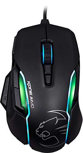 ROCCAT Kone AIMO Gaming Mouse – high Precision, Optical Owl-Eye Sensor (100 to 12.000 DPI), RGB AIMO LED Illumination, 23 programmable Keys, Designed in Germany, USB, Black - His Perfect Gifts