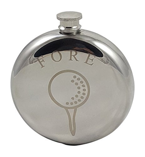 "Golf Flask Gift Set - 10 oz Round Flask Engraved with""Fore"" - Great Gift for Golfers - His Perfect Gifts"