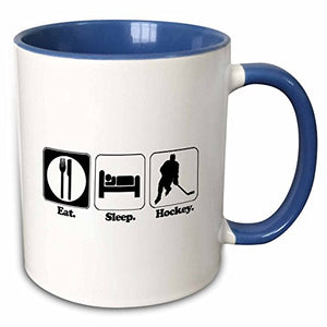 3dRose 116960_6 Funny Hobby Lifestyle Design Eat Sleep Hockey Two Tone Mug 11 oz Blue/White - His Perfect Gifts